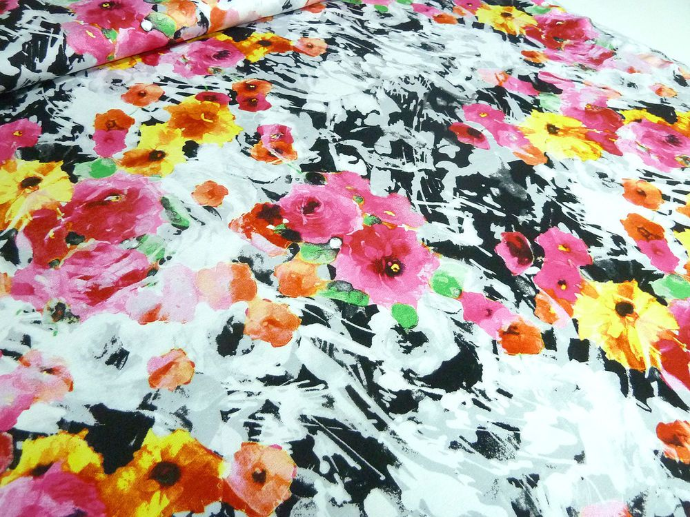 stoff viskose jersey blumen druck pink gelb orange gr n grau schwarz wei in m bel wohnen. Black Bedroom Furniture Sets. Home Design Ideas