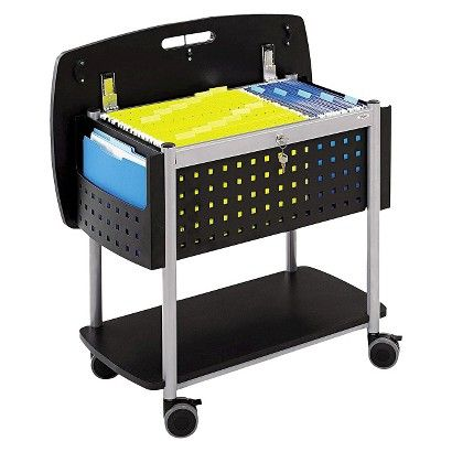 Safco Scoot Mobile Filing Cart Black Silver Safco Office