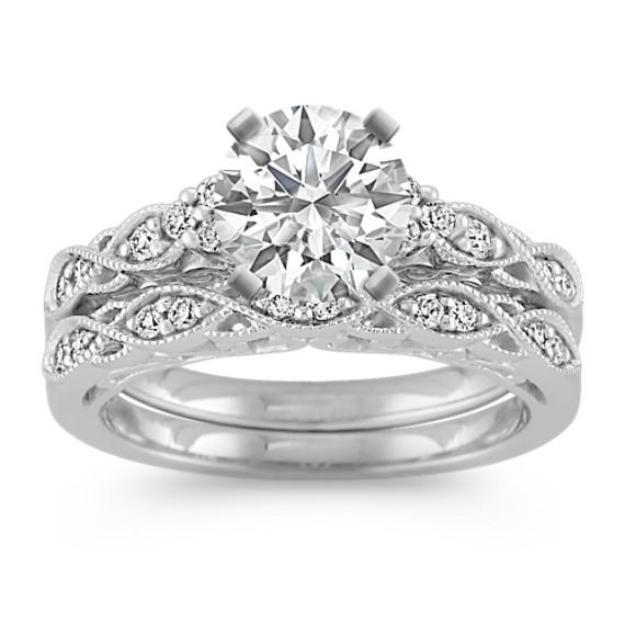Vintage Diamond Wedding Set With Pave Setting Diamond Wedding Sets Vintage Diamond Wedding Bands Vintage Diamond