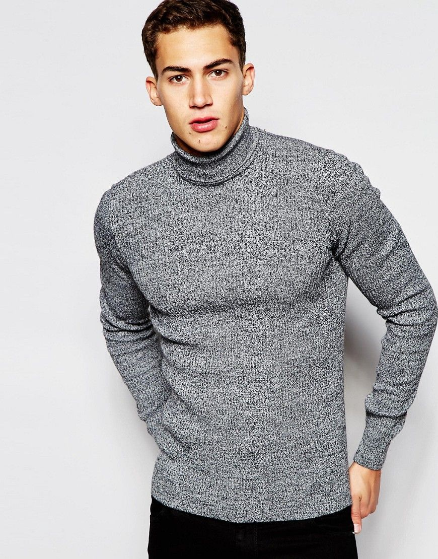 Image 1 of ASOS Muscle Fit Ribbed Roll Neck Jumper