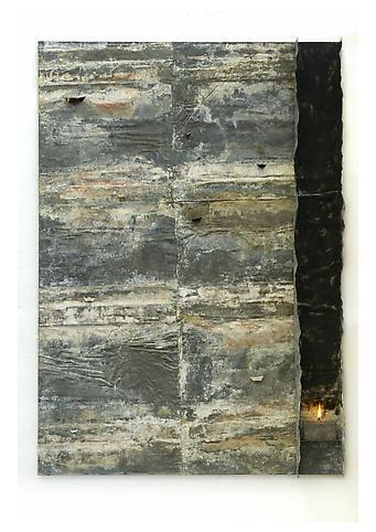 PIER PAOLO CALZOLARI - Untitled (Paesaggi orientali), 1979 Lead, iron, paper, burnt paper, paraffin 79 x 55 3/8 x 5 inches, 201 x 140.5 x 12.5 cm