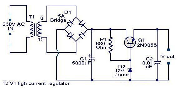 12 V HighCurrentRegulator ElectronicCircuits