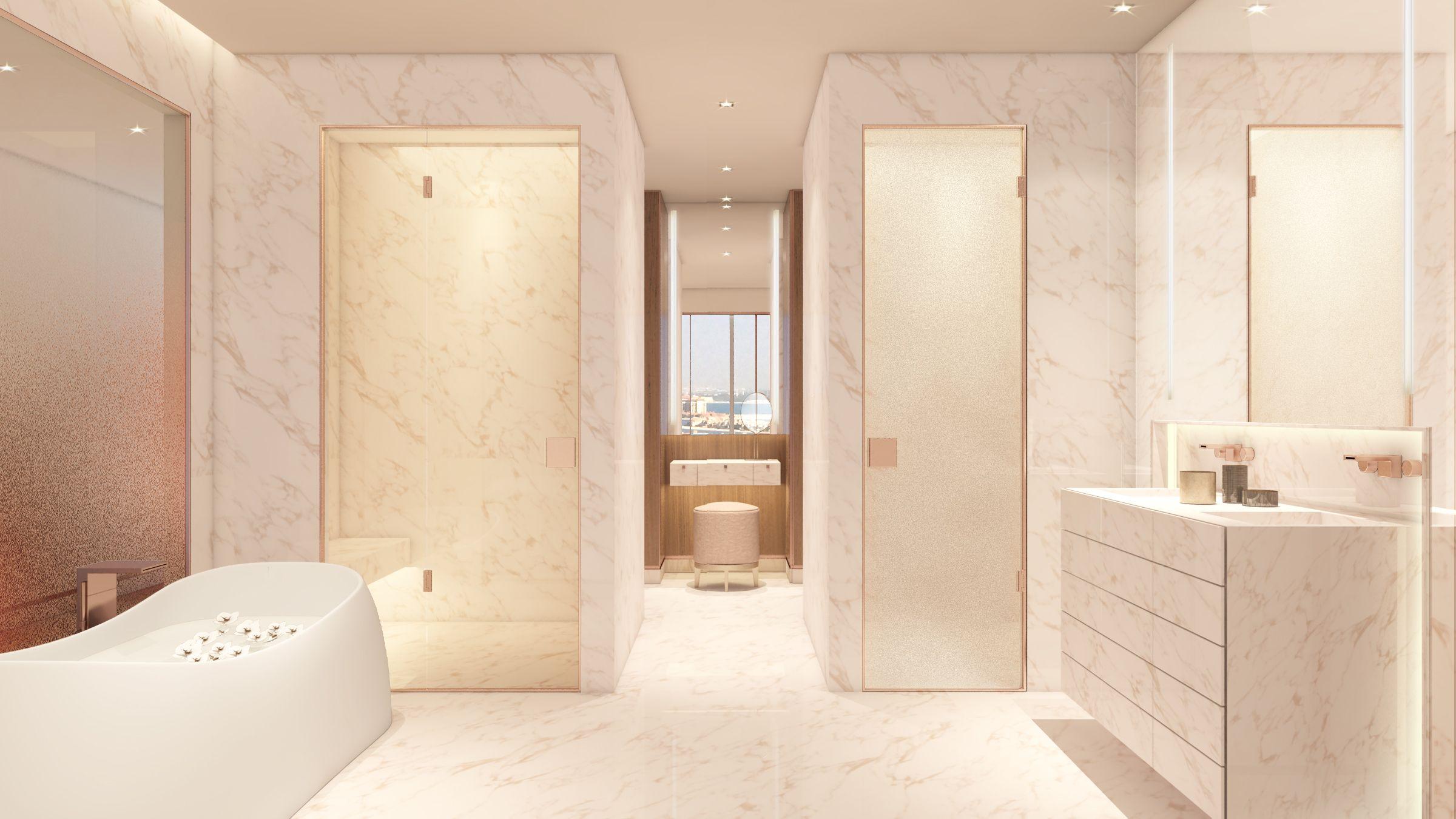 Une salle de bain classe et spacieuse par sybille de - Astuce deco salle de bain ...