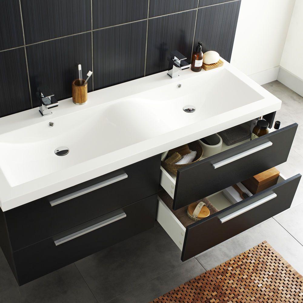 Bathroom Sinks Double Basin hudson reed quartet 1440mm high gloss grey bathroom vanity double