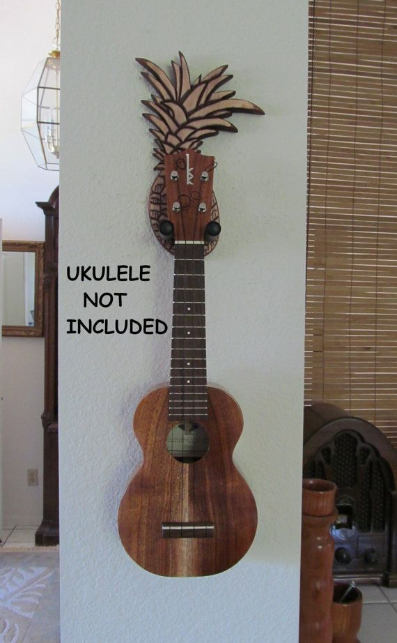 Pineapple Ukulele Wall Mount Hanger Hand Carved By