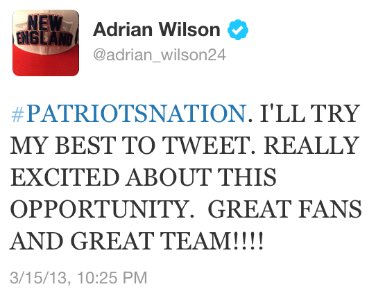 Adrian Wilson, the newest member of the Patriots, reached out to fans on Twitter about joining the team.