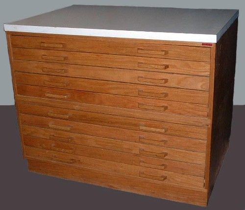 Flat File Wood 10 Drawers Art Map Plan Blueprint Cabinet Files By Stacor