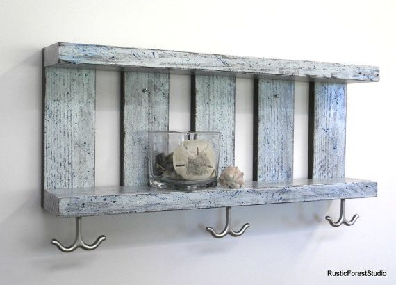 Coastal Decor Bathroom Wall Shelves With 3 Towel Hooks By Rustic Forest Studio Made Complete Rustic Wooden Shelves Bathroom Wall Shelves Beach Bathroom Decor