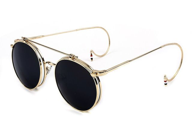 2016 New Vintage Round Flip Up Sunglasses Women Men Retro Steampunk Mirrored Glasses Points Fashion Brand Shades xuO2ClkgkJ