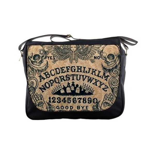 Ouija Board Messenger Bag ($50) ❤ liked on Polyvore featuring bags, messenger bags, brown bag, nylon messenger bag, nylon bag, brown messenger bag and courier bag