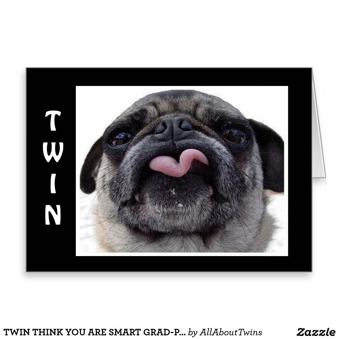Twin Think You Are Smart Birthday Card Plucky Pug Jokes Greeting