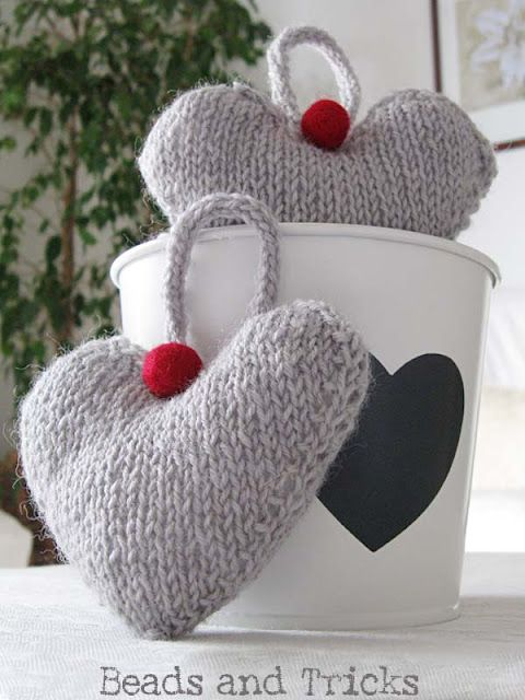 Knitted Hearts Wish It Were In English Hearts Pinterest