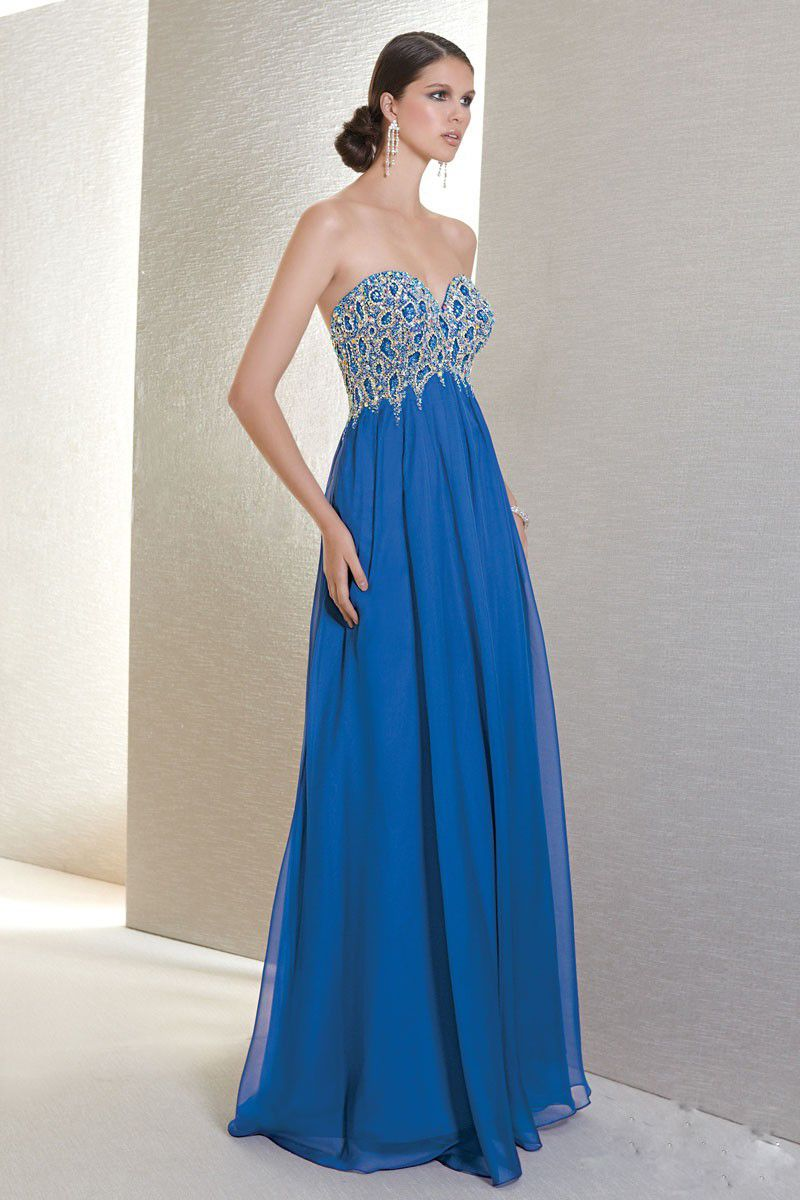 Strapless evening gown less is definitely more empire waistline