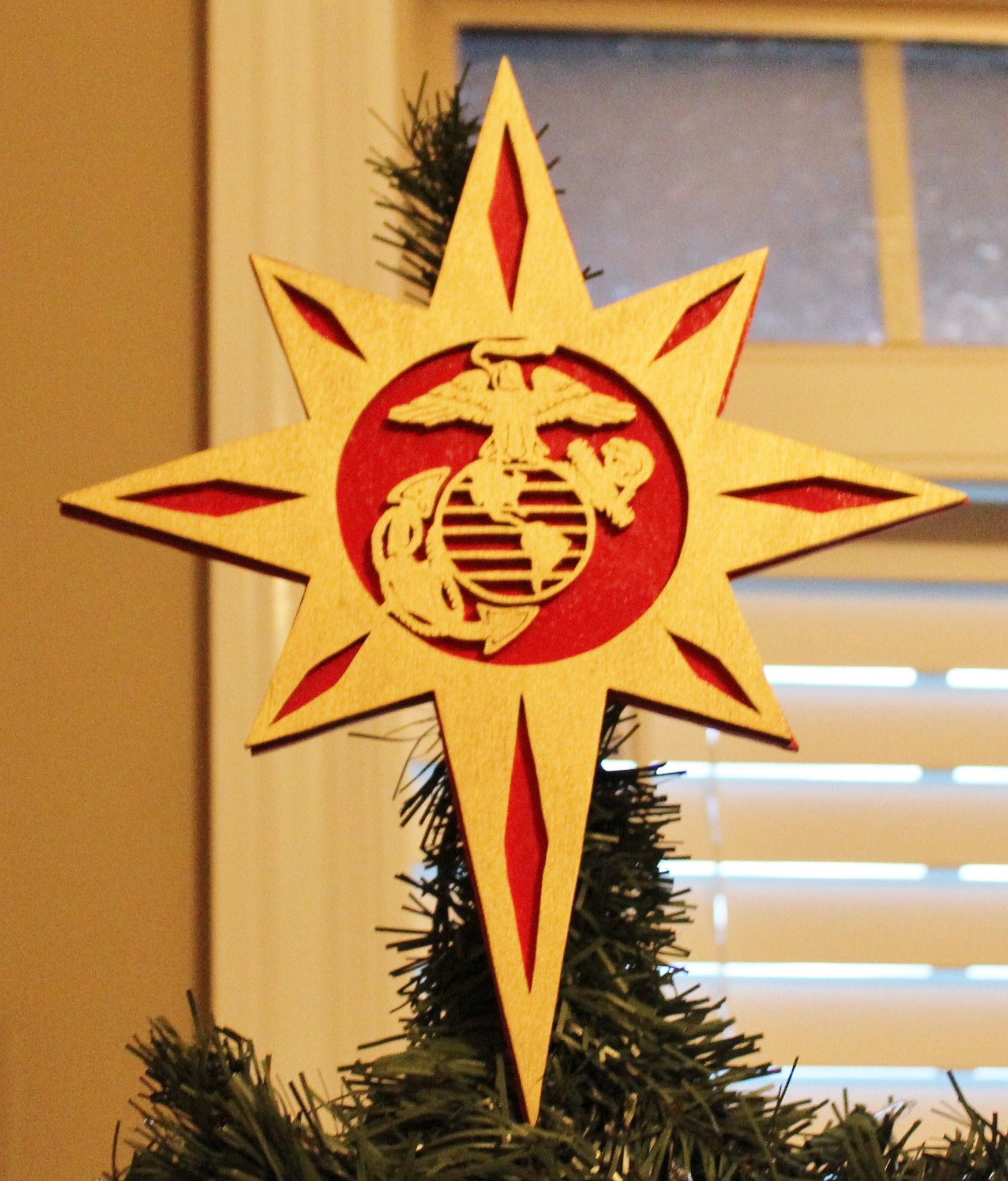 Official Hobbyist Of The Usmc License 11603 Marine Corps Christmas Tree Topper Display Your Marine Pride With This Custom Made Christmas Tree Topper