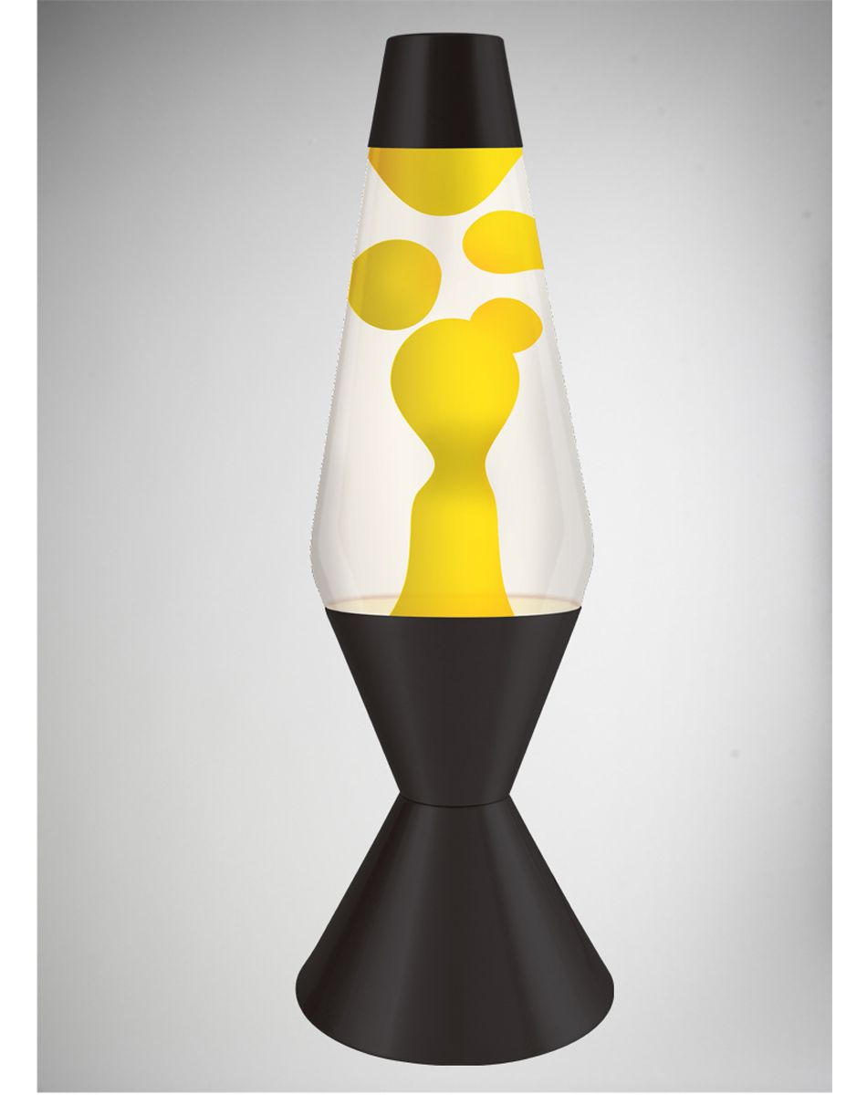 Lava Lamp With Yellow Lava Clear Liquid And Black Base 52 Oz