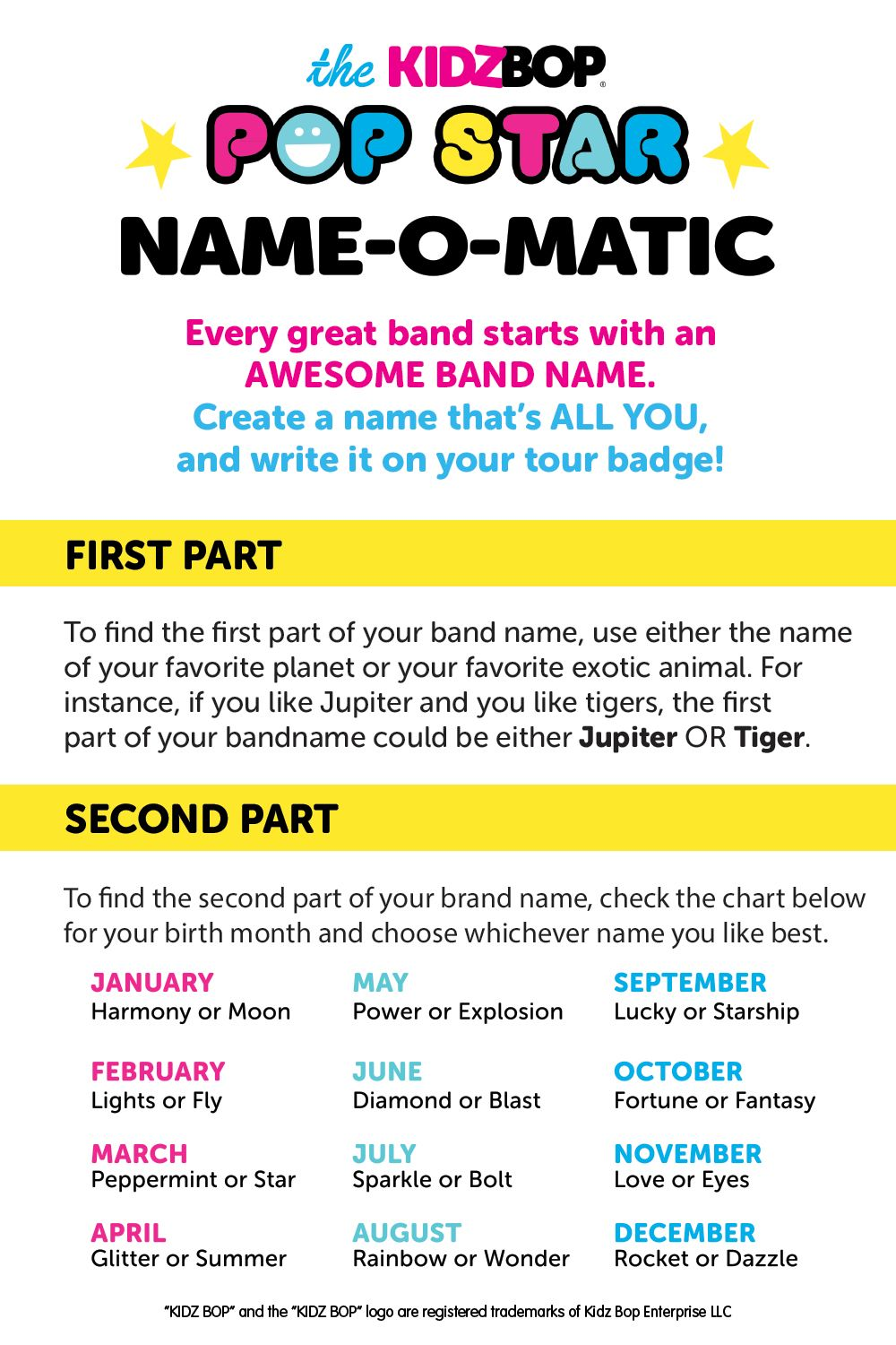 Create Your Own Kidz Bop Pop Star Name In 2020 Kidz Bop Music And Movement Movement Idea