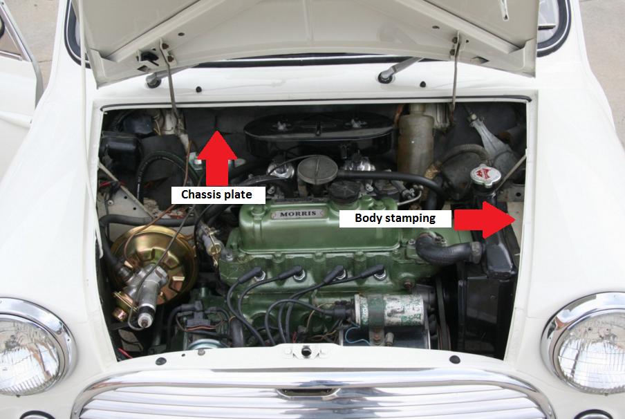 Australian MK1 Morris Cooper S Numbers engine bay Mini