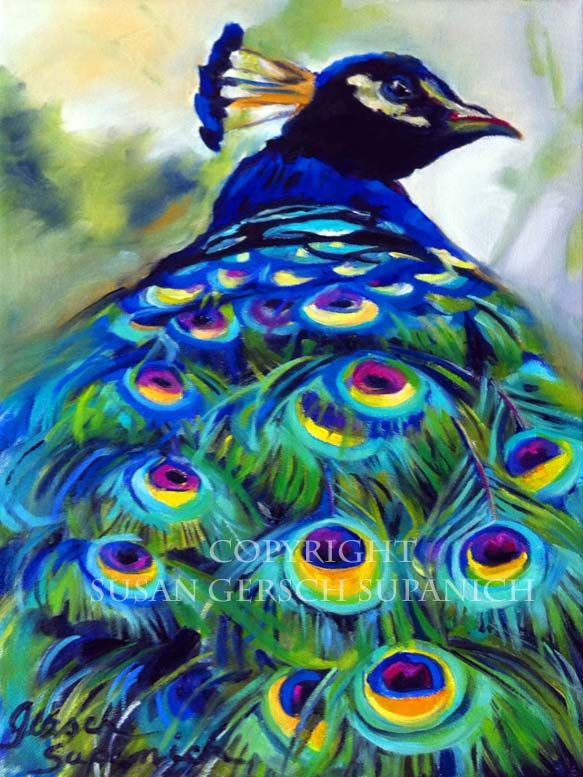 Art Print Peacock colorful painting 11 x 14 by