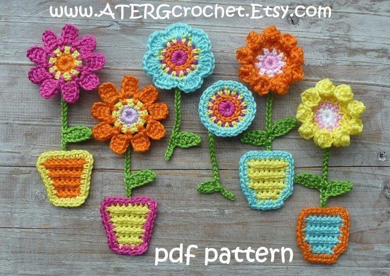 Crochet pattern FLOWER GARDEN magnets by ATERGcrochet by ATERGcrochet on Etsy https://www.etsy.com/au/listing/187236193/crochet-pattern-flower-garden-magnets-by