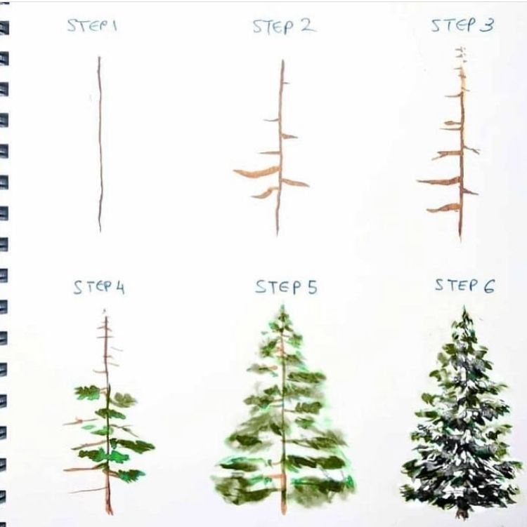 A Different Type Of Pine Tree Tutorial By Artbybianca Not Only Our Usual Watercolor Love But Art Supply Subscription Christmas Watercolor Watercolor Class