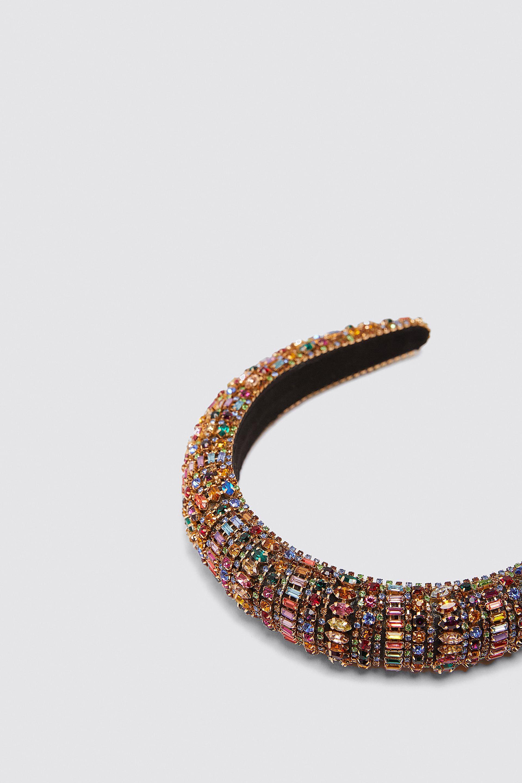 Diadema Acolchada Joya Bisutería Accesorios Mujer Zara México Rhinestone Headband Headband Jewelry Padded Headband