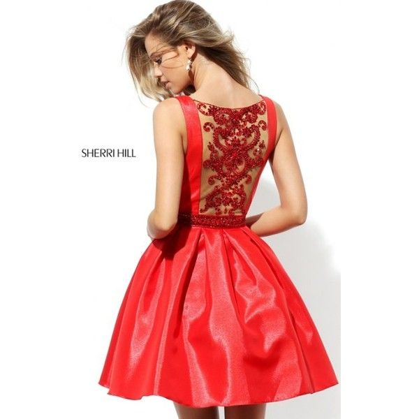 Sherri Hill 50505 A Line Beaded Red Homecoming Dress ❤ liked on Polyvore  featuring dresses,
