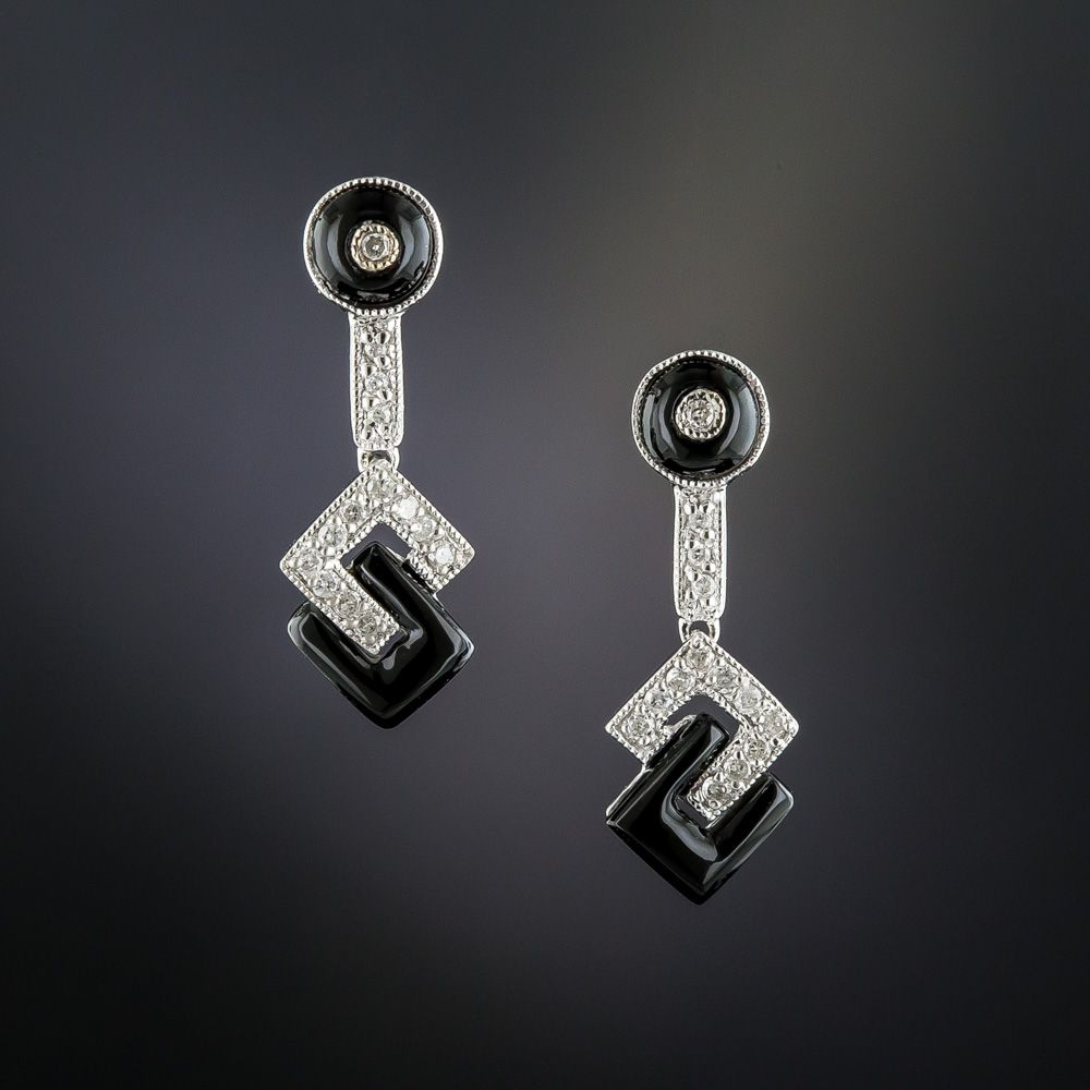 76a1f9bb5 Brought to you in glorious black & white, Art Deco style earrings with a striking  interlocking geometric design rendered in platinum, diamonds, ...