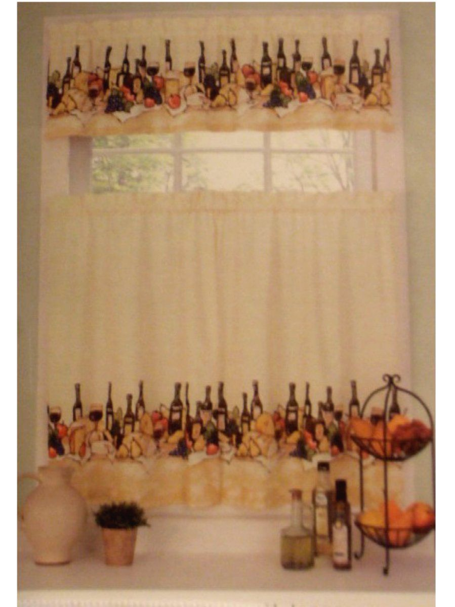 Merlot Wine Themed Kitchen Curtains Set