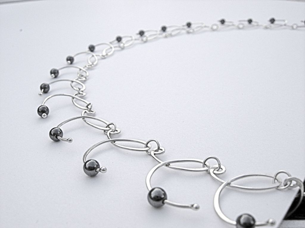 CADENCE Hematite n Argentium Silver Necklace and Earring Set | Chain ...