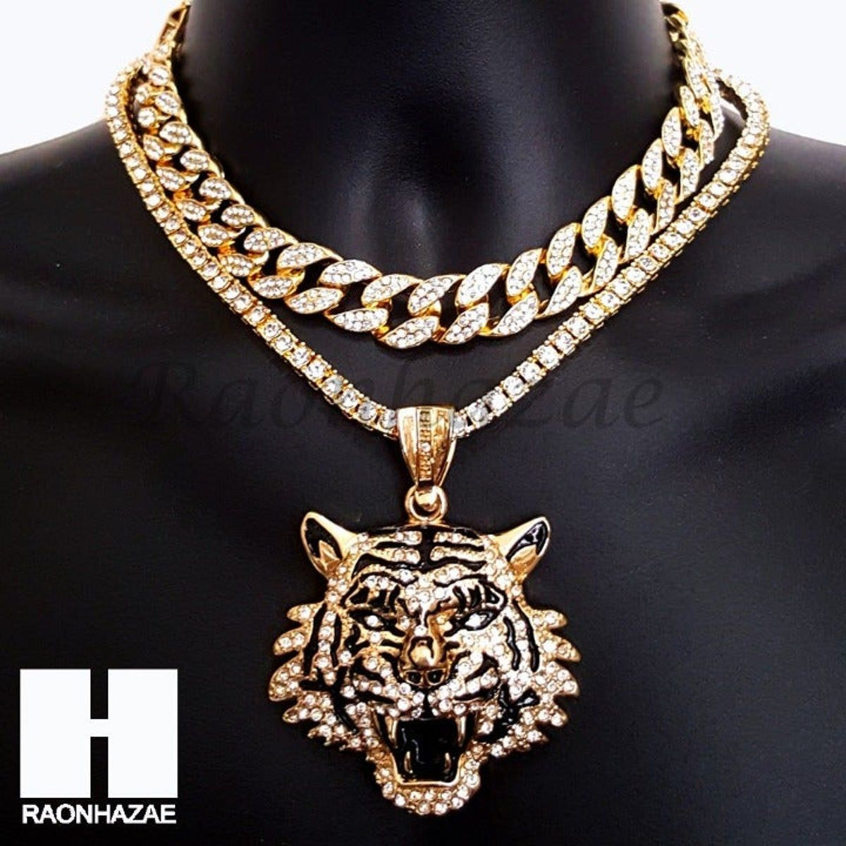 Drake Tiger Iced Cuban Tennis Chain In 2020 Gold Chains For Men Chains For Men Fashion Jewelry