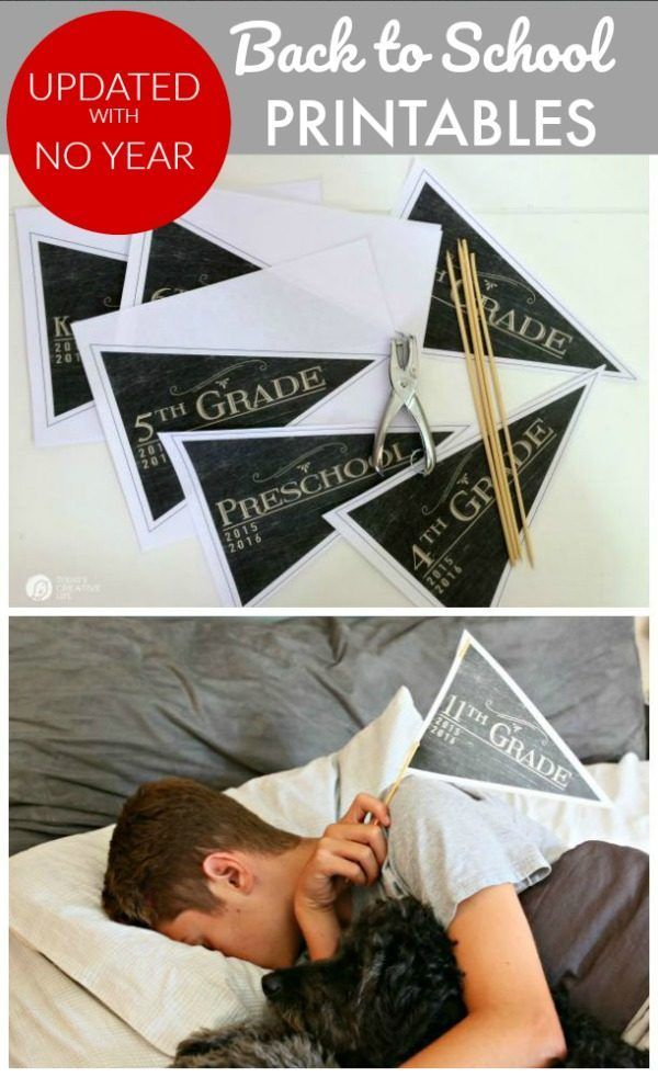 How to's : First Day of School Free Printable Pennants | back to school printables | picture day | printable | TodaysCreativeLife.com