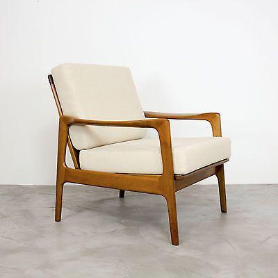 mid century modern nussbaum sessel 50er 60er walnut easy chair 60s 1960 fabric alte m bel. Black Bedroom Furniture Sets. Home Design Ideas