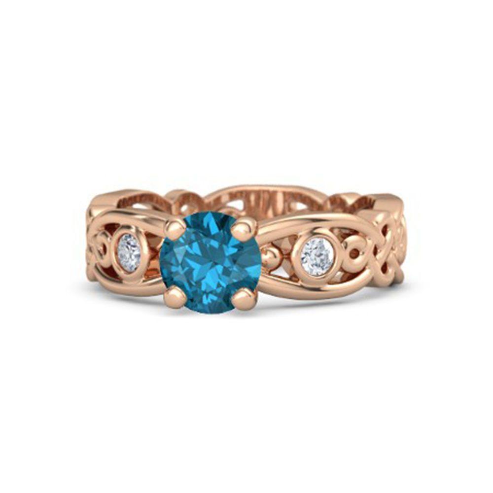 Rose Gold On Sterling Blue Topaz & White CZ Disney ...
