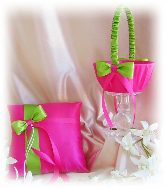 Hot pink and green wedding flower girl basket and ring bearer pillow hot pink and green wedding flower girl basket and ring bearer pillow spring and summer mightylinksfo Images