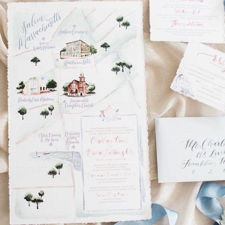Salem Ma Peabody Essex Museum Watercolor Wedding Invitations