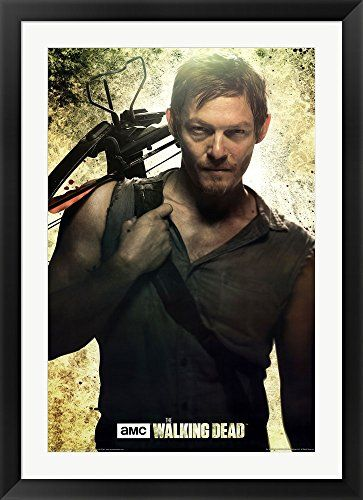 The Walking Dead Daryl Framed Art Print Wall Picture Black Flat
