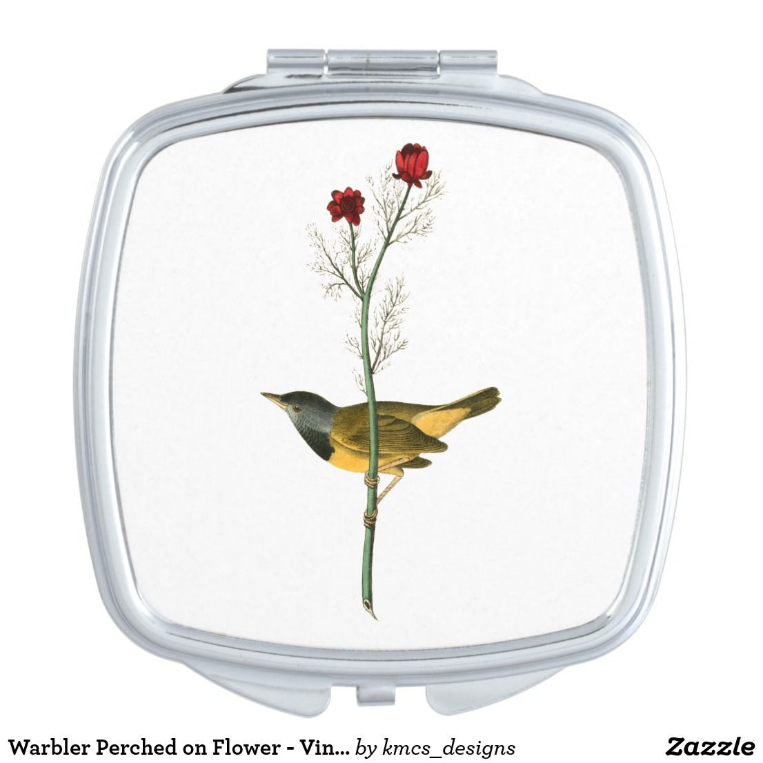 Warbler Perched On Flower Vintage Drawing Compact Mirror Compact Mirror Vintage Drawing Mirror