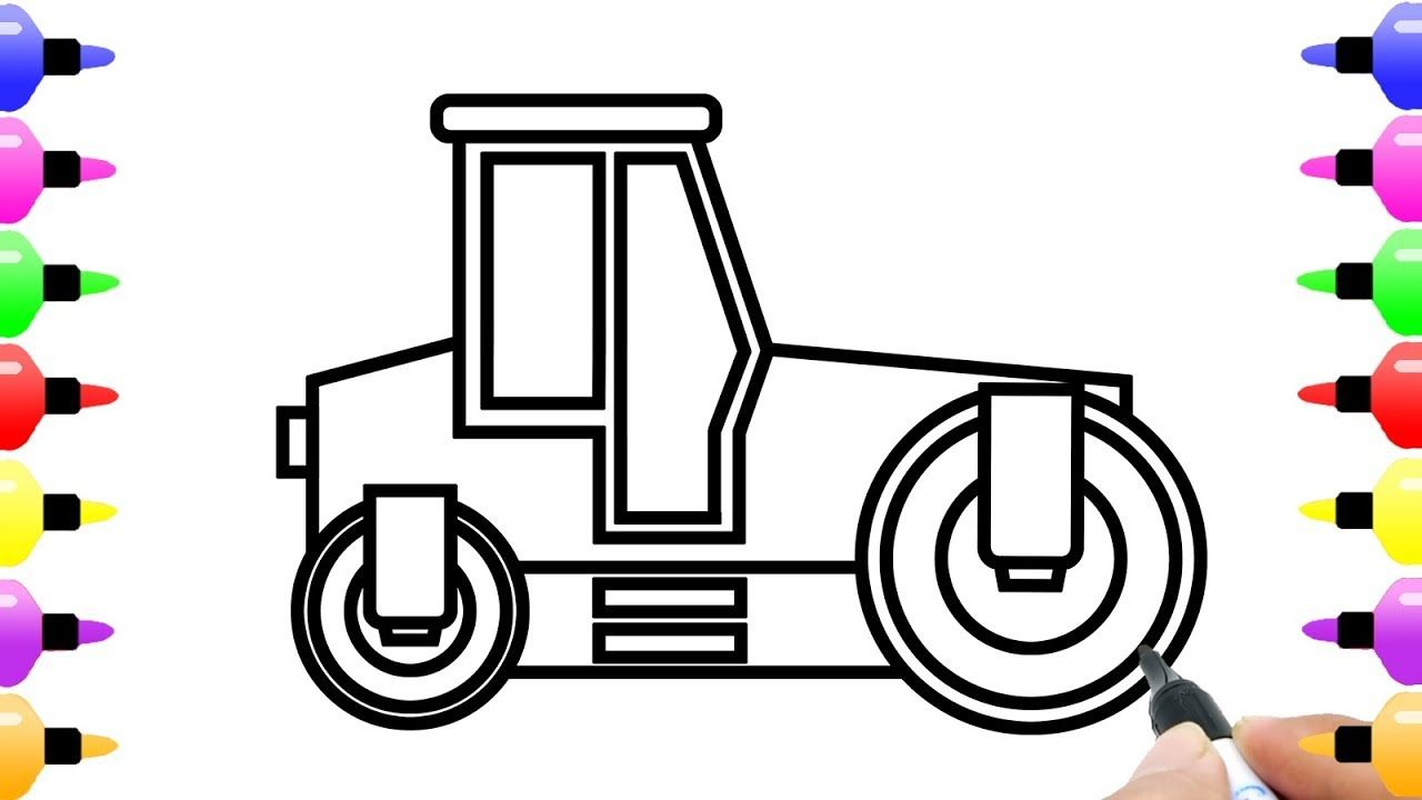 Road Roller Truck Drawing And Coloring Pages For Kids With Colored