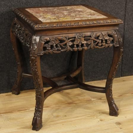 720 Chinese Side Table In Wood With Marble Top Visit Our Website