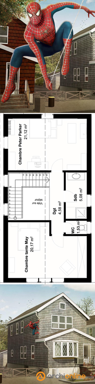 Entrez dans ma maison de peter parker le très célèbre spider man dune superficie de 129m² cest une petite maison de banlieue américaine comme