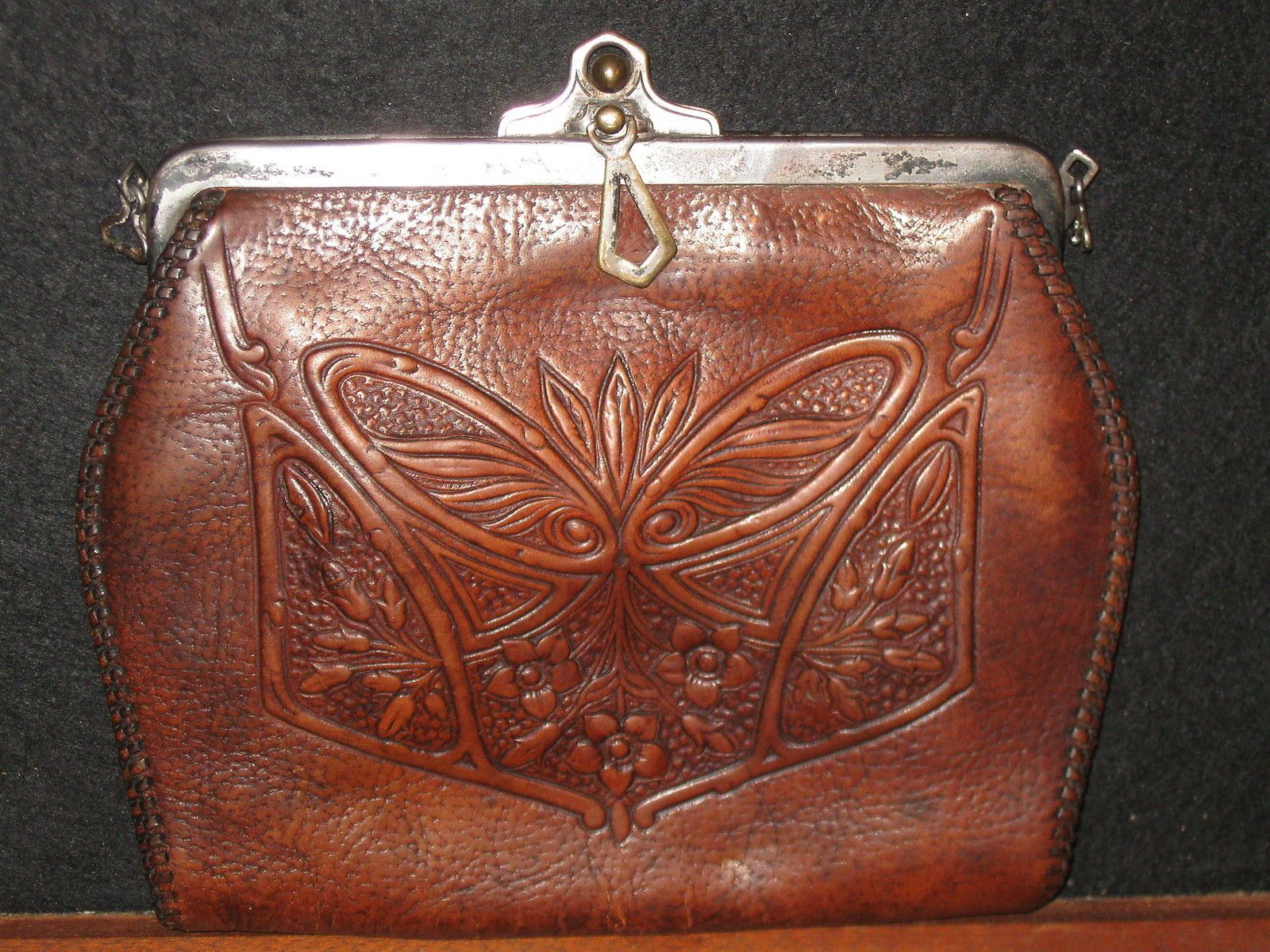 Antique Art Deco Arts Crafts Nouveau Silver Tooled Leather Clutch Purse | eBay