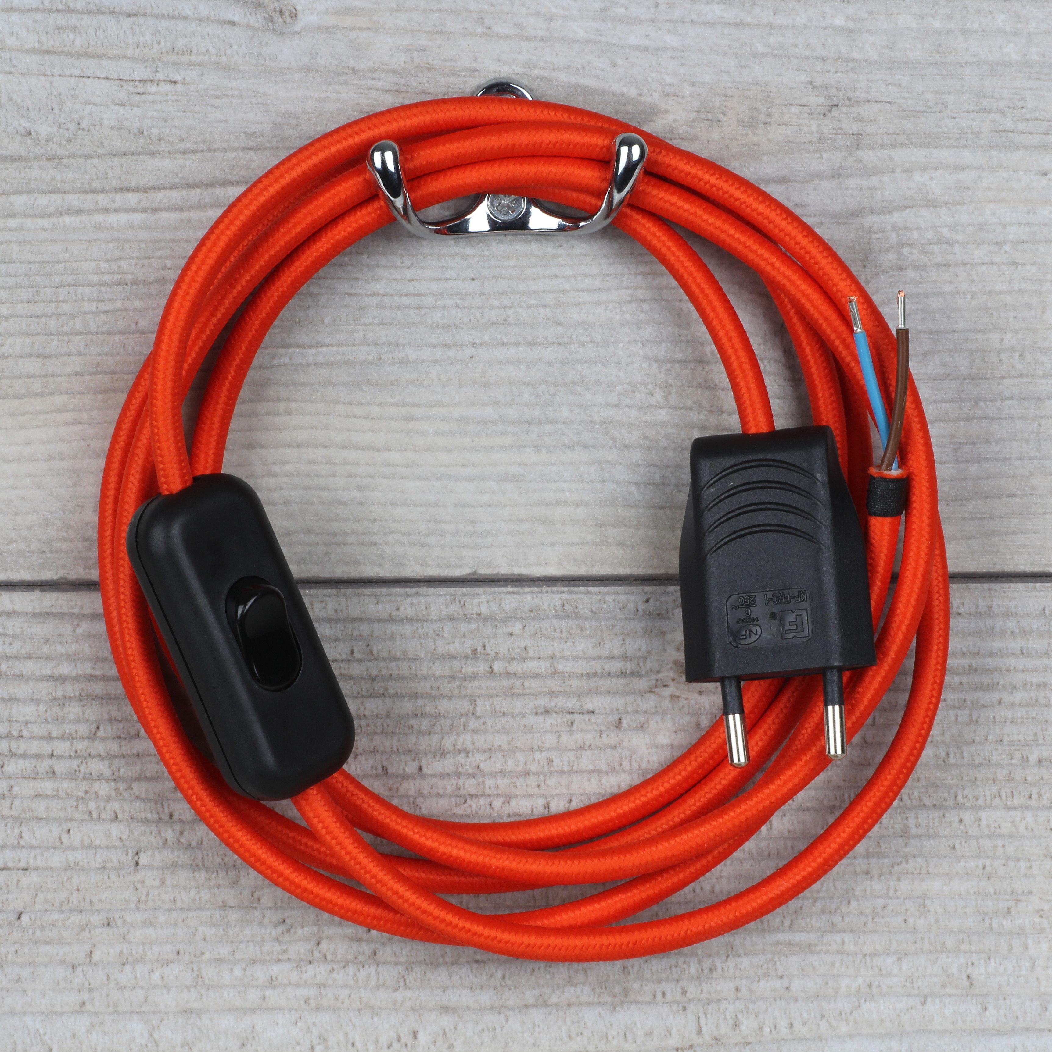 Textilkabel Anschlussleitung Orange Mit Schalter Und Stecker 21 40 Textilkabel Kabel Stecker