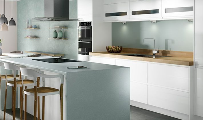 Sofia white gloss kitchen kitchen for Wickes kitchen cupboards