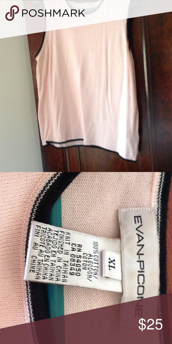 Evan Picone Sleeveless Sweater Top XLarge Evan Picone Sleeveless Sweater Top Dress Top xlarge pink with black trim. Cotton Evan Picone Sweaters Crew & Scoop Necks