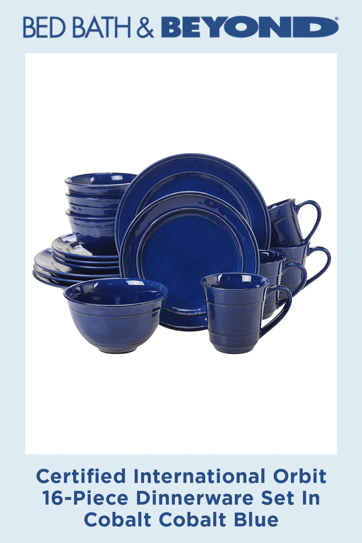 Certified International Orbit 16-Piece Dinnerware Set In Cobalt Cobalt Blue