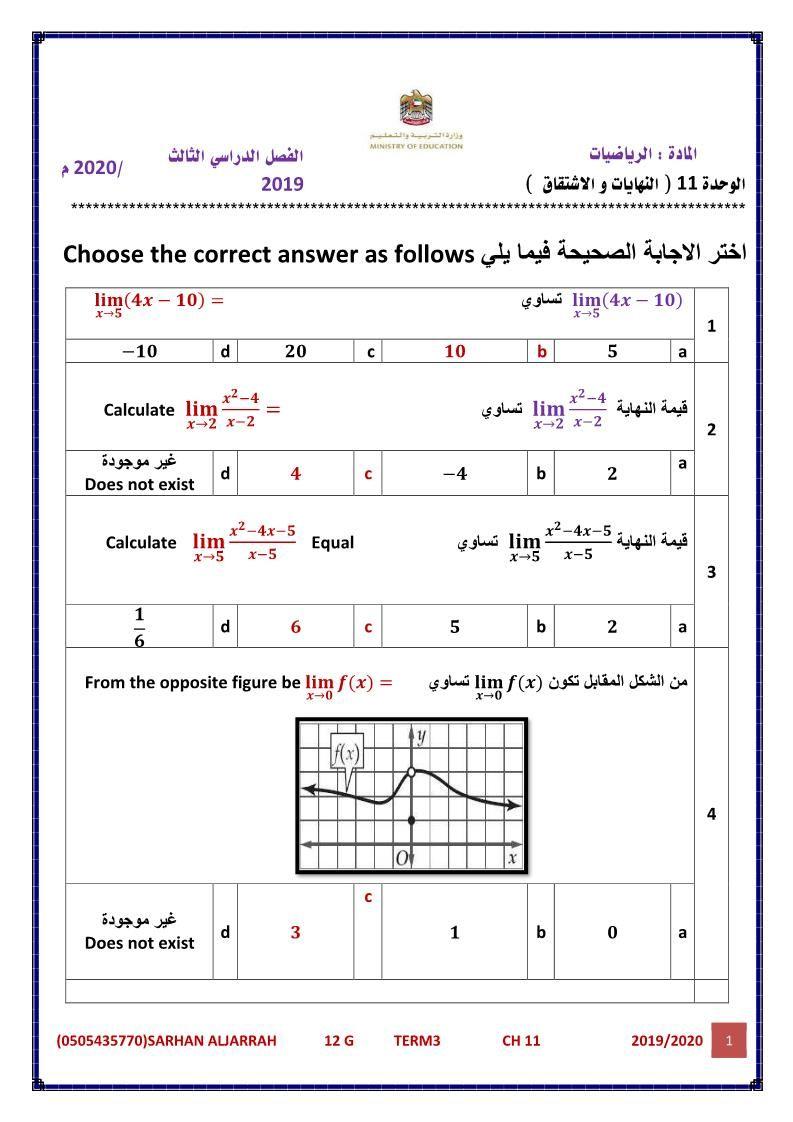 الرياضيات المتكاملة أوراق عمل النهايات و الاشتقاق للصف الحادي عشر مع الإجابات Periodic Table Diagram