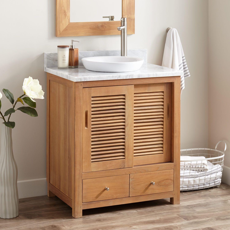 30 Becker Teak Vessel Sink Vanity Natural Teak Bathroom Vanities Bathroom Teak Vanity Teak Bathroom Vanity Teak Bathroom