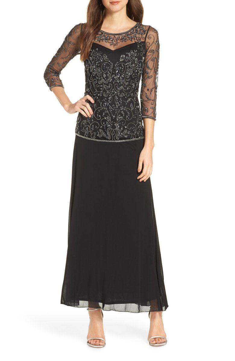63a285ea17da Free shipping and returns on Pisarro Nights Beaded Mesh Mock Two-Piece Gown  (Regular & Petite) at Nordstrom.com. Glinting sequins and beadwork swirl  across ...