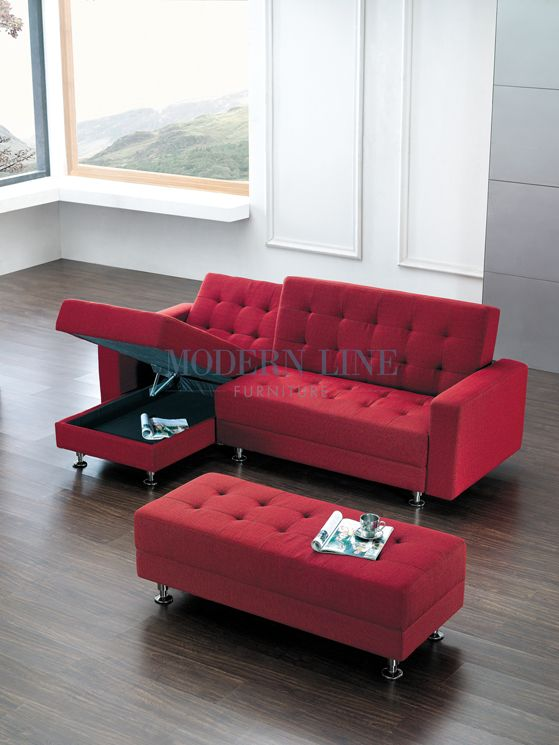 Modern Furniture Sectional Sofa Sleeper With A Large Ottoman With