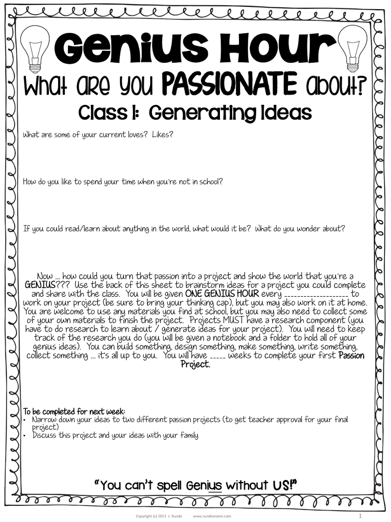 Genius Hour Class 1 Pdf Google Drive Things For My Classroom